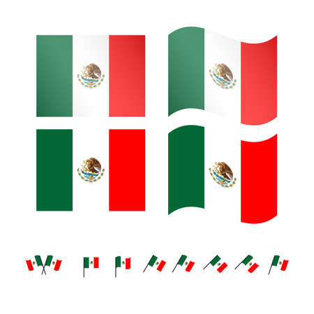 flag mexico: Mexico Flags EPS 10 Illustration