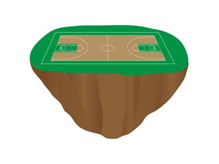 isla flotante: Isla Flotante cancha de baloncesto verde