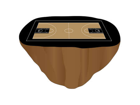 isla flotante: Isla Flotante cancha de baloncesto Negro Vectores