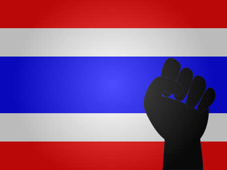 Thai Flag with Protest Sign  Illustration