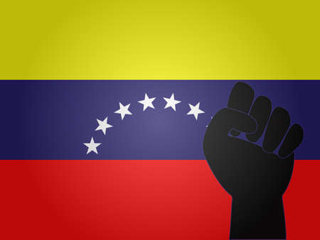 dictature: Drapeau v�n�zu�lien avec le signe de protestation