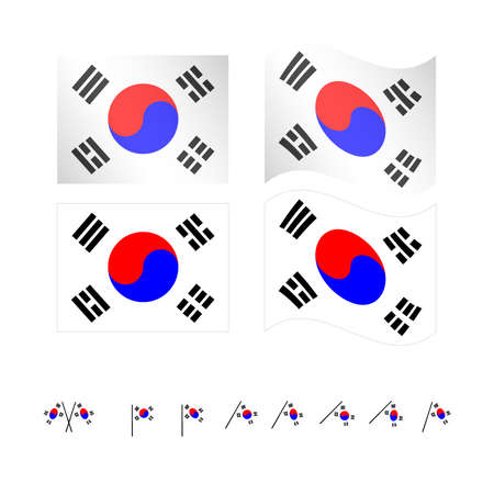 South Korea Flags Vector