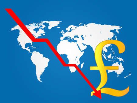 economy crisis: Global Economy Crisis Pound  Illustration