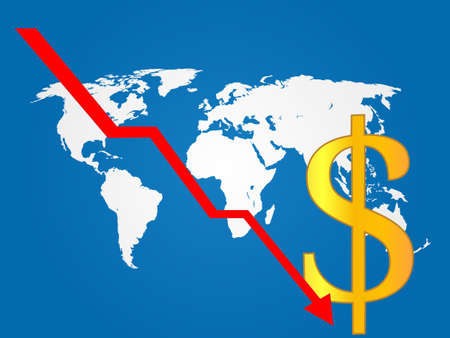 Global Economy Crisis Dollar  Vector
