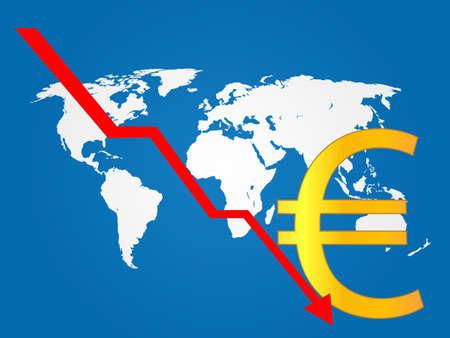 economy crisis: Global Economy Crisis Euro EPS 10 Illustration