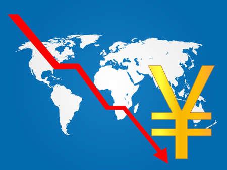 economy crisis: Global Economy Crisis Yen EPS 10 Illustration