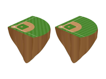 outfield: Baseball Fields with Diagonal Pattern Floating Islands