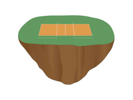 floating island: Volleyball Court Floating Island Illustration