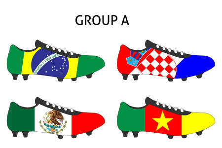 cleats: Brazil 2014 Cup Cleats Group A Illustration