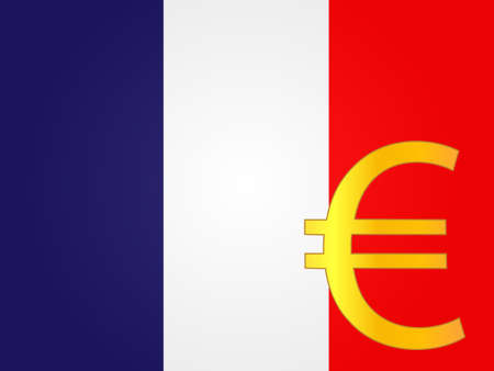Euro Currency Sign over the French Flag  Vector