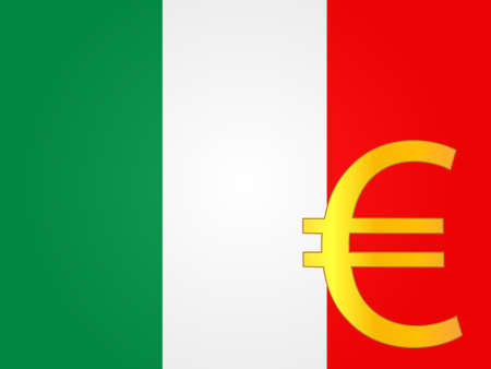 Euro Currency Sign over the Italian Flag  Vector