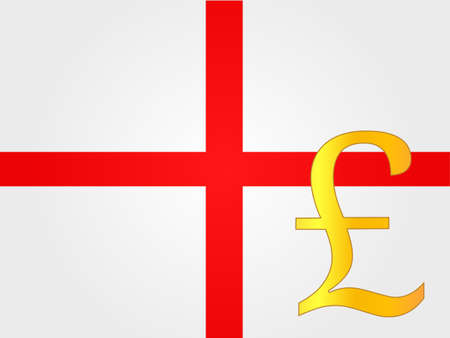 deregulation: Pound Currency Sign over the English Flag EPS 10 Illustration