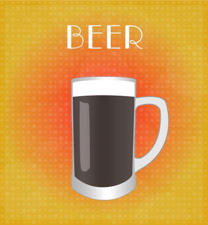 Dark Beer with Red Golden Background Illustration