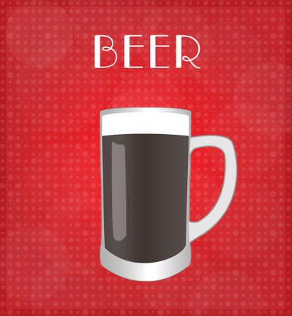 Dark Beer with Red Background Illustration