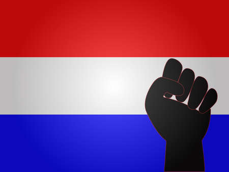 dictator: Dutch Flag with Protest Sign Illustration