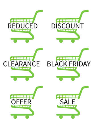 Green Shopping Cart Icons with Sale Texts Vector