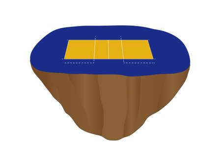Volleyball Court on Floating Island Vector