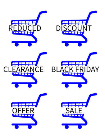 Blue Shopping Cart Icons with Sale Texts Vector