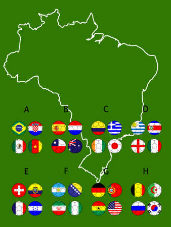 Brazil 2014 Football Cup Groups Map with Coat of Arms Vector