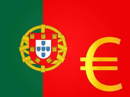Eurozeichen über der portugiesischen Flagge Standard-Bild - 28527061