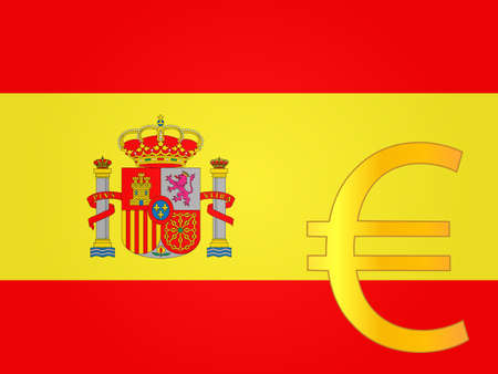 deregulation: Euro Currency Sign over the Spanish Flag