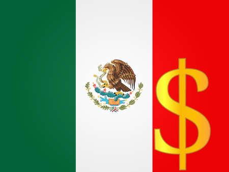 mexican flag: Peso valuta Segno sopra la bandiera messicana Vettoriali