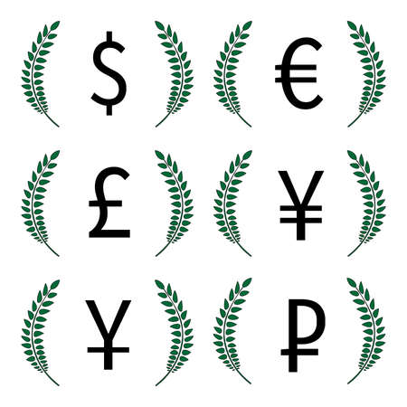 Currencies Laurels Dollar Euro Pound Yen Yuan Ruble 1 Vector