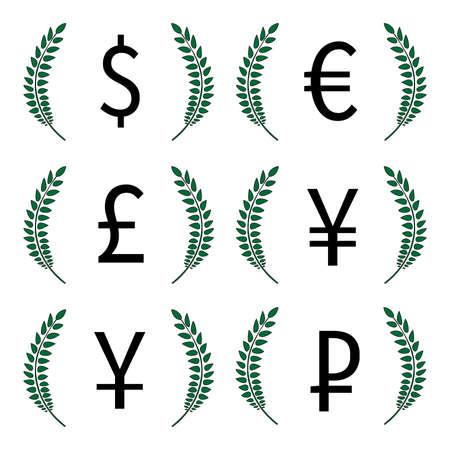 deregulation: Currencies Laurels Dollar Euro Pound Yen Yuan Ruble 1
