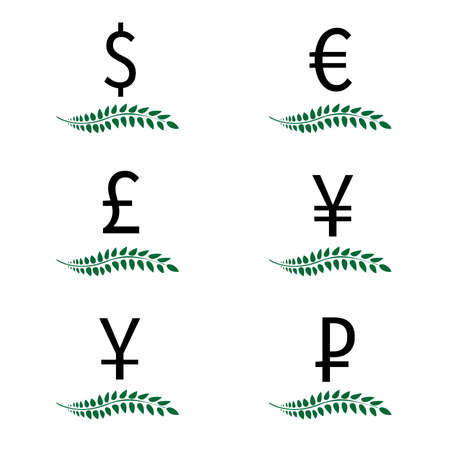 Currencies Laurels Dollar Euro Pound Yen Yuan Ruble 3 Vector
