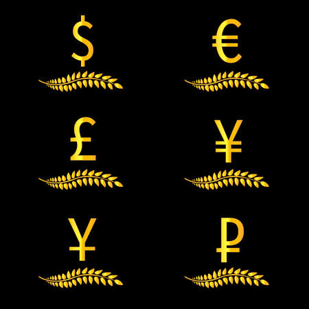 deregulation: Currencies Laurels Dollar Euro Pound Yen Yuan Ruble 4 Illustration