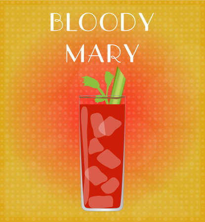 date night: Drinks List Bloody Mary with Red   Golden Background EPS10 Illustration