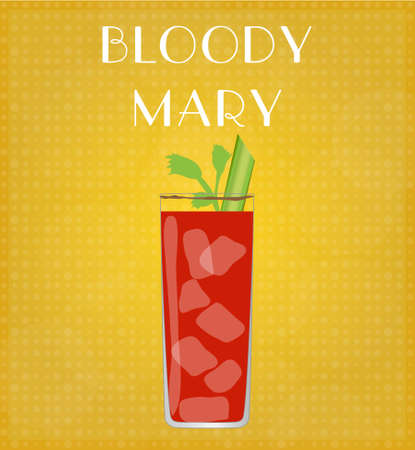 date night: Drinks List Bloody Mary with Golden Background EPS10