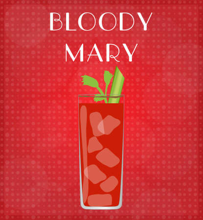 date night: Drinks List Bloody Mary with Red Background  Illustration