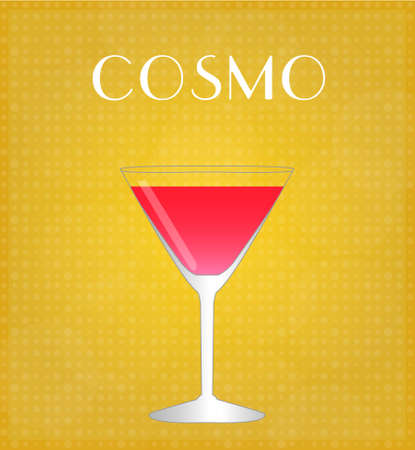 Drinks List Cosmopolitan with Golden Background  Illustration