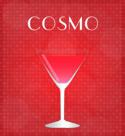 date night: Drinks List Cosmopolitan with Red Background  Illustration