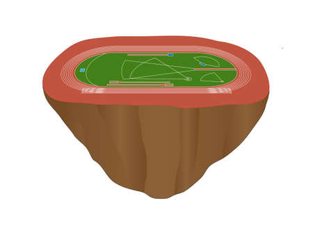 Athletics Field with Red Track Floating Island Vector