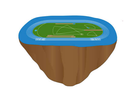 Athletics Field with Blue Track Floating Island Vector