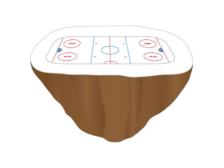 floating island: Hockey Rink Floating Island Illustration