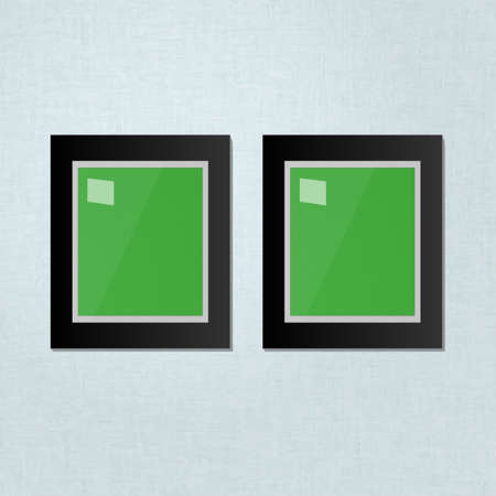 mounting: Two Black Frames Template Hanging on a White Wall
