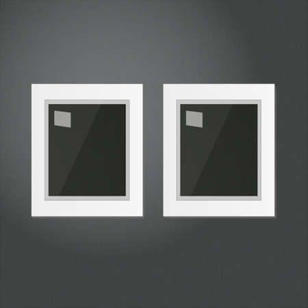 Two White Frames Template Hanging on a Black Wall  Vector