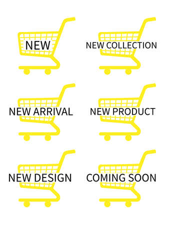 new arrivals: Yellow Shopping Cart Icons with New Arrivals Texts Illustration