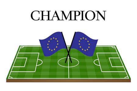 유럽의: 유럽 연합 국기와 함께 축구 챔피언 필드 일러스트
