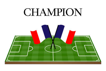 french flag: Football Champion Field with French Flag