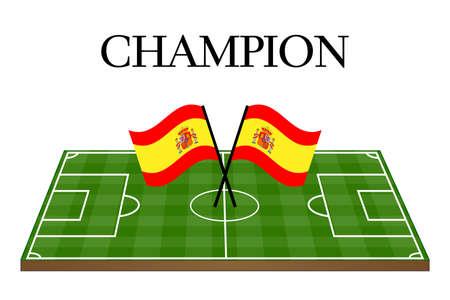 bandiera spagnola: Football Champion campo con bandiera spagnola