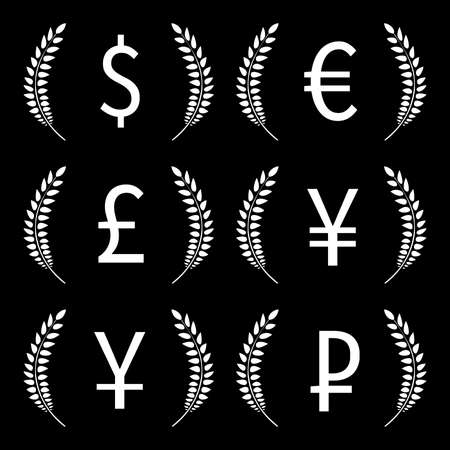 Currencies Laurels Dollar Euro Pound Yen Yuan Ruble Black and White  Vector