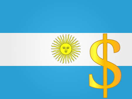 deregulation: Peso Currency Sign over the Argentinian Flag