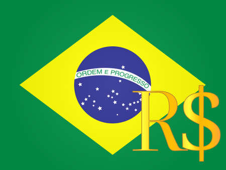 Echt Währung Einloggen über der brasilianischen Flagge EPS-10 Standard-Bild - 28579151