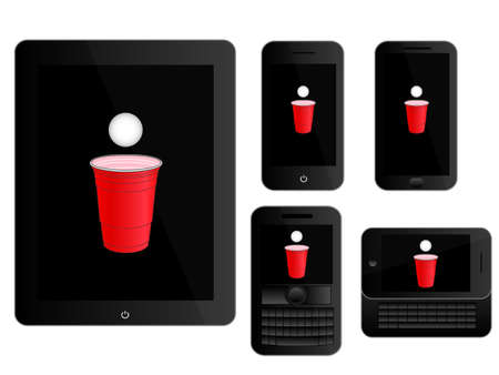 Mobile Devices with Beer Pong Icon White Vector