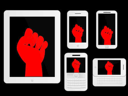 protest sign: Mobile Devices with Red Protest Sign White Icons