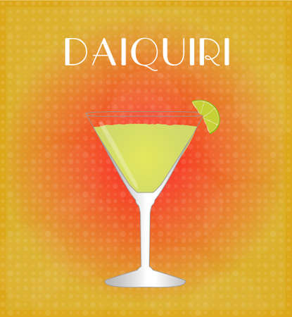 Drinks List Daiquiri with Red   Golden Background